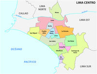Lima center area administrative and political map in spanish language