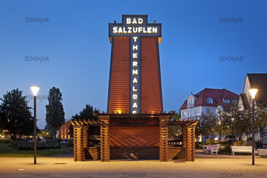 Illuminated graduation house with lettering in the blue hour, Bad Salzuflen, Germany, Europe