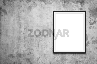 blank picture frame on vintage wall - blank canvas mockup -