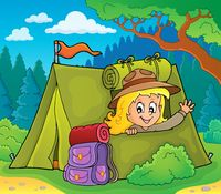 Scout girl in tent theme 3