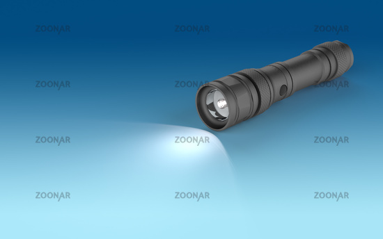 Flashlight  on a blue background.
