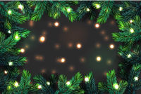 Christmas tree branches background. Festive Xmas border of green branch of pine with sparkling lights garland, vector illustration.