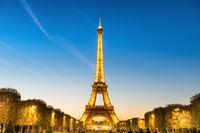 Illuminated Eiffel Tower at night in Paris