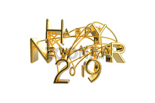 Happy New Year 2019 Christmas elegant golden lettering word with letters bound by strings isolated on white background. Holyday 3D illustration