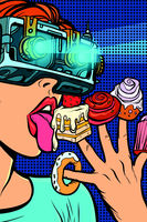 woman in virtual reality glasses eating sweets
