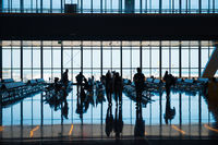 Group of silhouette people in airport