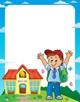 Happy pupil boy theme frame 1