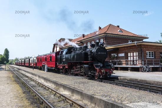 Molli, historic steam railway, train station, Kuehlungsborn West, Germany, Europe