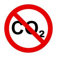 CO2  und Verbotsschild - CO2  and prohibition sign