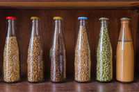 Beer ingredients in bottles - brewery at Belgium