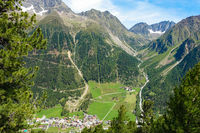 View from the hiking trail down to Gries, Ötztal, Austria
