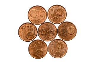 European coins in five cents