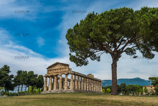 The Temple of Ceres or Athena at Paestum archaeological site, Province of Salerno, Campania, Italy
