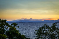 Taupo Lake and Tongariro volcano at sunset, New Zealand