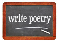 write poetry text on blackboard