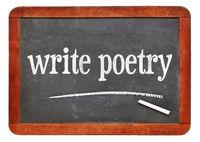 write poetry text on blackboard