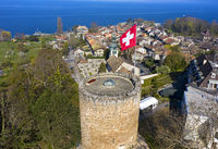 Hermance at Lake Geneva with the round watchtower of the medieval fortress, Geneva, Switzerland