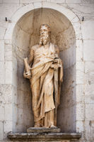 ancient stone Saint Paul statue at Assisi Marche Italy