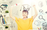 happy asian woman student with diploma at home