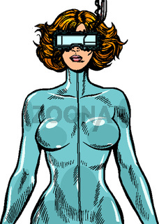 cyber woman wearing virtual reality glasses. cyberpunk