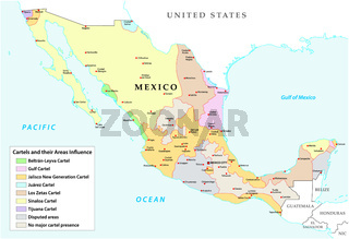 Map of the Mexican drug cartels and their spheres of influence