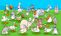 ducks and rabbits farm animal characters group