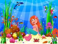 Cute joyful little mermaid in the underwater world