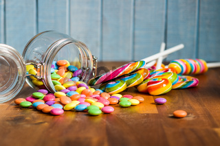 Swirl lollipops and colorful candy.