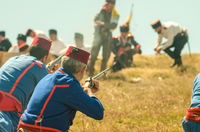 Reconstruction of the battle. The Battle of Shipka Peak. Shipka battlefield in Russo-Turkish War (18