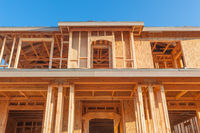 New Wood House Framing at Construction Site