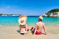 Couple on beach in Greece