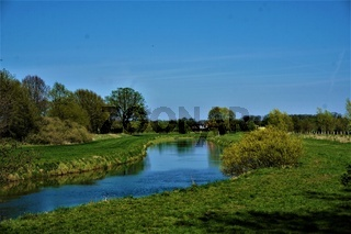 Calm landscape with Aller river near Wienhausen abbey