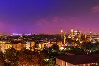 Hagia Sophia and the bridge over the night Bosphorus. Istanbul, Turkey