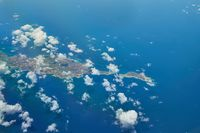 Anguilla Caribbean island seen frome airplane window