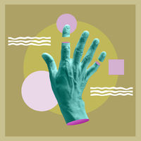 Modern conceptual art poster with a hand in a surrealism style. Contemporary art collage.