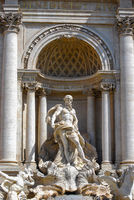 Oceanus standing under a triumphal arch, Trevi fountain, Rome, Italy.