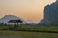 Observing beautiful landscape in sunset, Vang Vieng