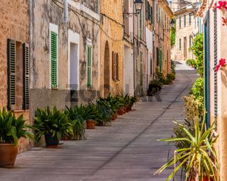 Mallorca - Alcudia - Altstadt, Häuser mit vielen Blumentöpfen
