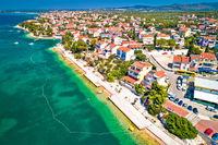 Brodarica village near Sibenik beach and coastline aerial view