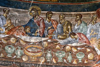 The Last Supper, fresco in the central dome of the basilica, St. George monastery, Ubisa, Georgia