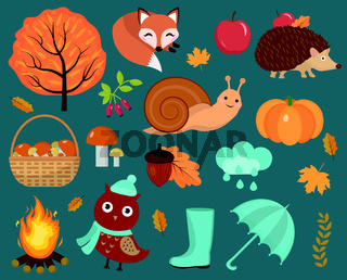 Hello Autumn icons set flat or cartoon style.Collection design elements with leaves, trees, mushrooms, pumpkin, wild animals, umbrella and boots. Isolated on white background. Vector illustration
