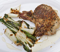 Grilled pork chops with  bok choy