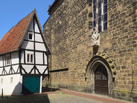Minden - Small half-timbered house next to the Martinikirche, Germany