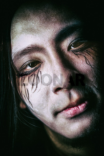 Young Asian Male Face Painted Halloween Spooky Scary Decoration Celebration Closeup Portrait