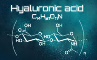 Chemical formula of Hyaluronic acid on a futuristic background