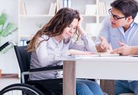 Disabled student studying and preparing for college exams