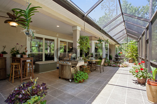New Home Mid Range Luxury Patio Covered Exterior Outdoors Daytime Bright Sunny Warm Day Furniture Design House
