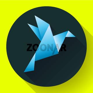 Blue origami bird art icon