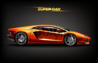 Realistic golden super car design concept, bright orange gold luxury automobile supercar