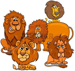 lions cartoon animal characters group